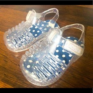 Baby girl size 2 sparkle jelly sandals clear shoes